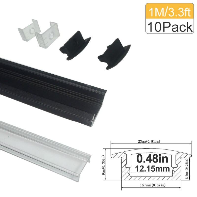 3.3Ft / 1M 10 Pack Vedro LED aluminijski kanal U oblik 12mm - LED Rasvjeta