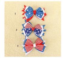Jumbo 3 cor Da Bandeira Americana estrela da fita Do Cabelo Arcos 4TH de Julho De Strass Atada Grampos de Cabelo Feito À Mão Fita de Gorgorão Headwear