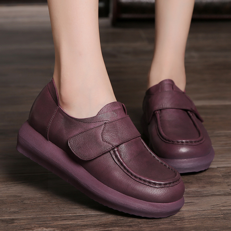 ФОТО 2017  Women Flat Shoes Genuine Leather Flat Platform Round Toes Soft Comfortable Women Casual Shoes