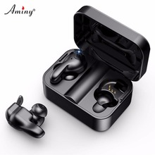 Aminy True Wireless Bluetooth Headset IPX5 Waterproof 3D Stereo Sound Headphones Automatic Pair 5.0 Earphone