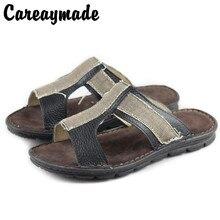 Careaymade-Fashion Soft Men Sandals Leisure Summer Shoes Comfortable Men Beach strap Men Sandals Leather Handmade High Quality цена 2017