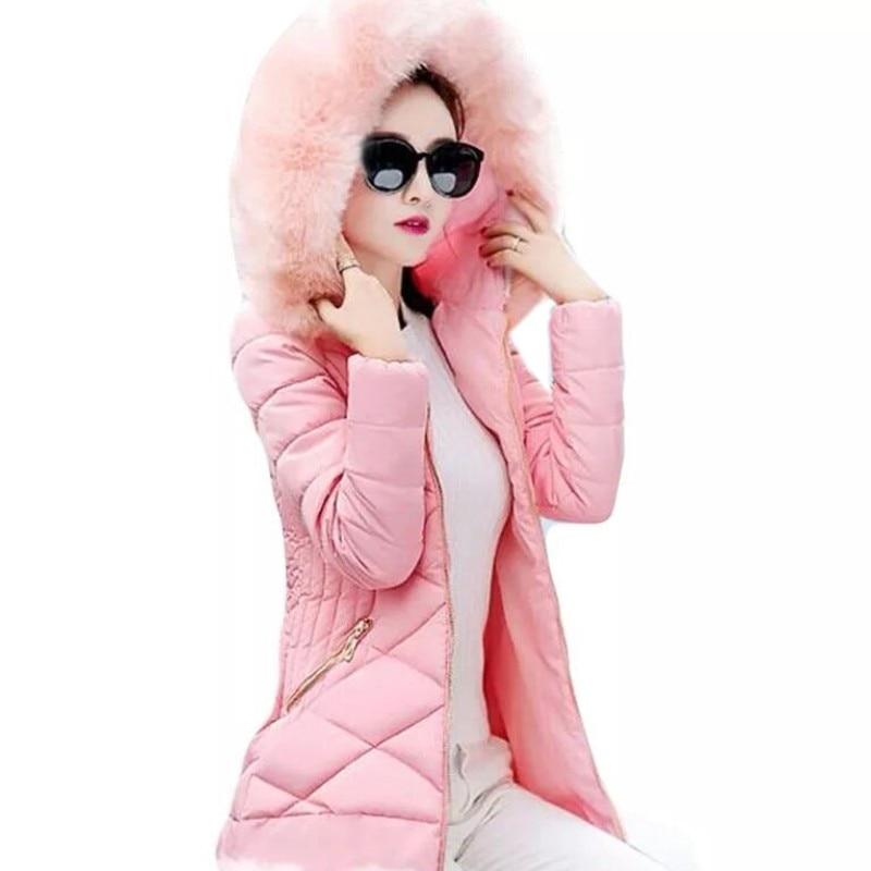 YSMARKET Women Long Winter Tops Jacket Down Thick Beautiful Korean Students Hooded Coats Cotton   Parkas   Ladies Keep Warm HK45