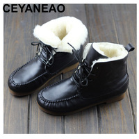 CEYANEAO Boots Women Shoes 100% Genuine Leather Ladies Ankle Boots Round toe Lace up Women's Winter Botos with/without Wool
