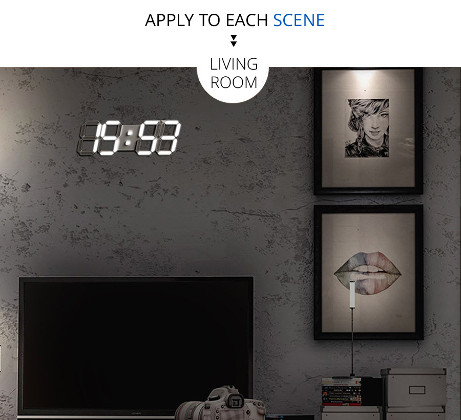 24/12 Hour Display Large Modern Digital 3D White Led Wall Clock
