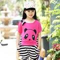 Детская одежда мягкого хлопка марка детская одежда для девочек милые мультфильм футболка + полосатые брюки 2 шт. девушки одежды устанавливает спортивные костюмы