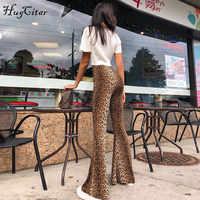 Леггинсы Hugcitar с высокой талией и леопардовым принтом, осенне-зимние женские облегающие брюки, Клубные брюки, 2018