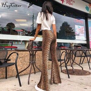 Image 1 - Леггинсы клеш Hugcitar с леопардовым принтом и высокой талией, Осень зима 2020, женские модные сексуальные облегающие брюки, Клубные брюки