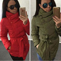 New Plus Size Warm Woman Coats Casual Women Winter Parkas Jacket Thick Cotton-padded Jacket Irregular with Belt Winter Jacket