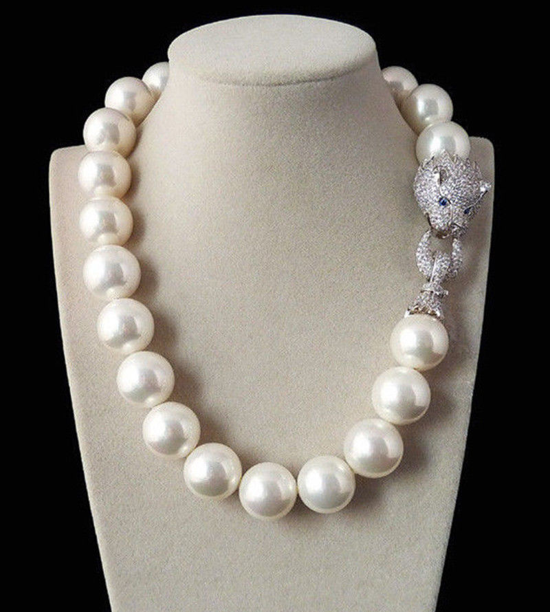 Huge 20mm Genuine White South Sea Shell imitation Pearl Necklace 19 AAA Crystal Clasp