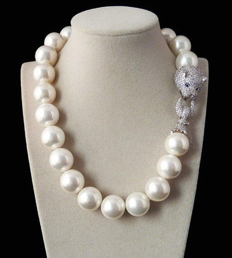 Énorme collier de perles d'imitation de coquille de mer du sud blanche véritable de 20mm 19 ''fermoir en cristal AAA-in Colliers chaîne from Bijoux et Accessoires    1