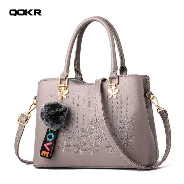 4b68159886dd US $32.23  QOKR luxury handbags women bags designer leather pu handbags  female embroidery flower crossbody bag beige black red brands new-in ...