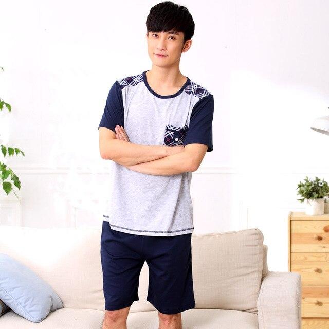 2016 Pajama For Men Summer cotton Men pajama Set Couples O-neck Sleepwear homewear 011