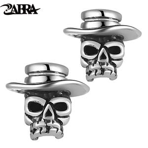 ZABRA Solid 925 Sterling Silver Skull Earrings Man Vintage Punk Stud Earring Black Skeleton Wearing A Hat Biker Men Jewelry