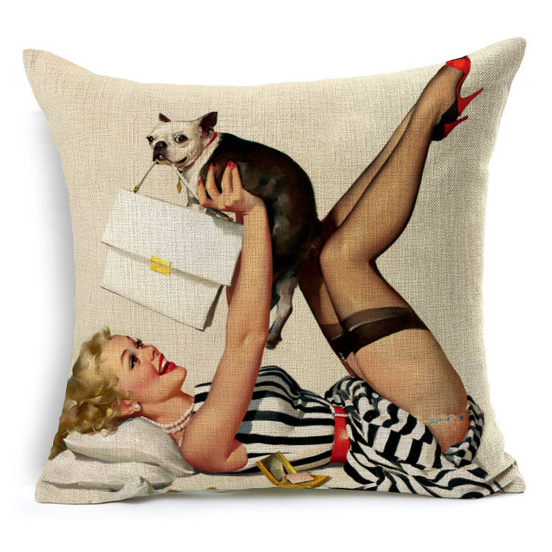 Fashion Sexy Lady Scandinavian 45x45cm Cushion Cover Modern Home Decorative Pillowcase Vintage Cotton Linen Car Pillowslip PC377