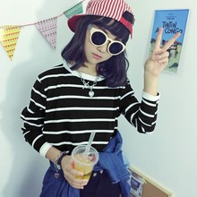 tee shirt femme kawaii clothes graphic striped tees t shirt women 2016 womens long sleeve tops casual t-shirt camisetas mujer