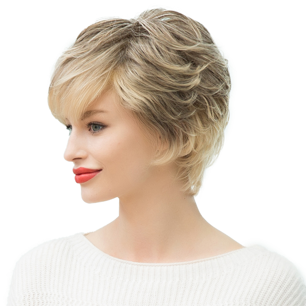 2018 Hot Fashion Women Short Natural Wave Human Hair Wig Full Head Wigs Ombre Blonde