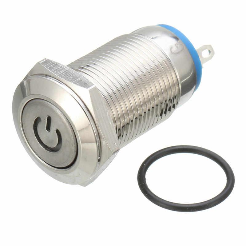 1 Pc Logam Tahan Air Self-Locking 12 Mm LED On/Off Tombol Push Switch 12 V 4PIN Mobil tombol Dash Switch