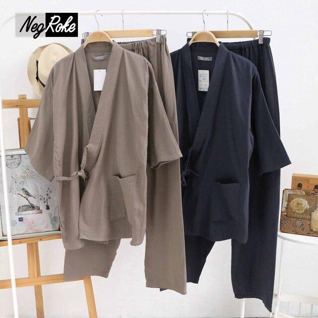 Hot sale Summer 100% cotton long-sleeve japanese pajamas mens simple kimono pajamas sets for male pijama hombre pyjamas Robes