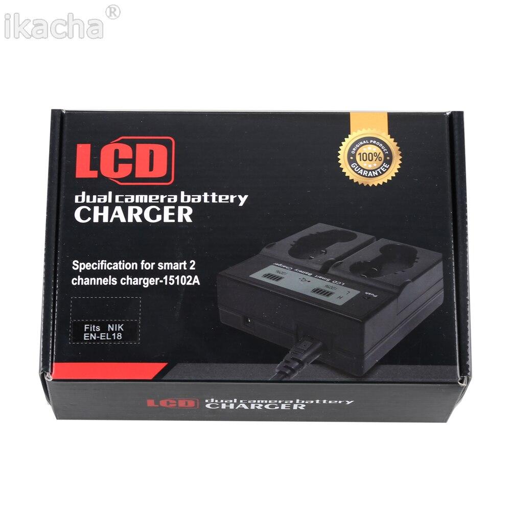 New EN EL18 ENEL18 EN EL18A LCD Sreen Digital Batteries Charger Two Seats For Nikon D5