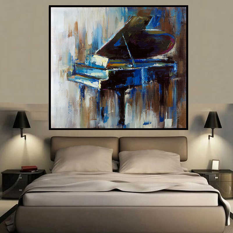 Square Abstract Colors Piano Style Wall Art Oil Painting Home Decoration Bedroom Living Room Painting Calligraphy