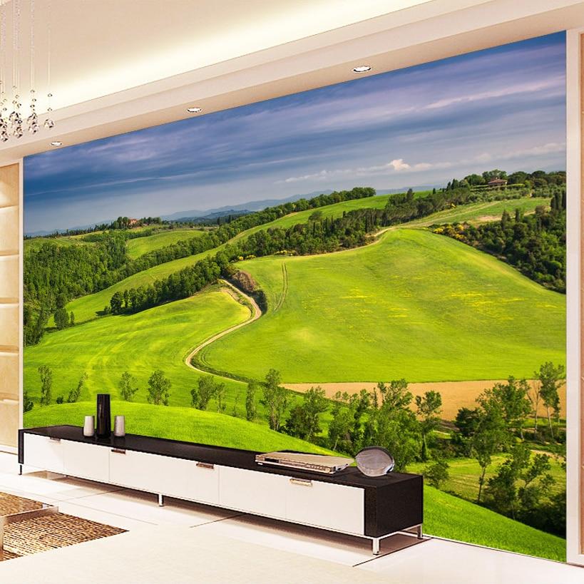Custom Wall Mural Green Nature Landscape Living Room TV Backdrop Decor 3D Photo Wallpaper Non-woven Fabric Wall Covering Paper