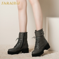 SARAIRIS Wholesale Plus Size 34 43 Best Quality Street Style Women Shoes Woman Leisure Lace Up Boots Women Ankle Boots