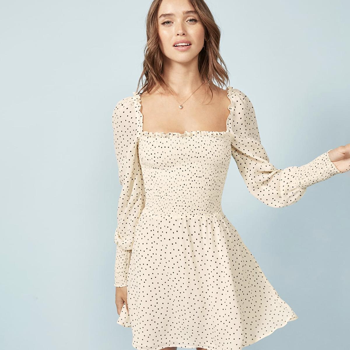 311e2a0a1341b Tangada fashion women print mini dress polka dot elastic waist short ...