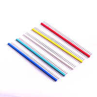 100pcs/lot 2.54mm Black + White + Red + Yellow + Blue Single Row Male 1X40 Pin Header Strip Gold-plated ROHS