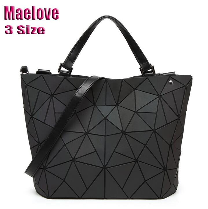 Maelove Women Luminous Bag Geometric Laser Plain Folding Handbag Diamond Tote Quilted Shoulder Bag Geometry Free Shipping