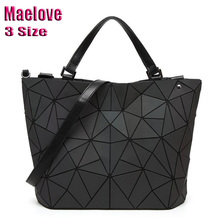 Maelove women Luminous bag Geometric Laser Plain Folding Handbag Diamond Tote Quilted Shoulder bag geometry Free Shipping kisumater matt color backpacks women bag geometry sequins folding luminous baobao backpack student s school bag free shipping