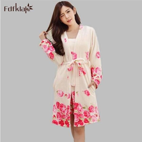 Women robe & gown sets print long nightgown 2 piece set women's sleepwear flannel robes warm home bathrobe ladies dressing gowns