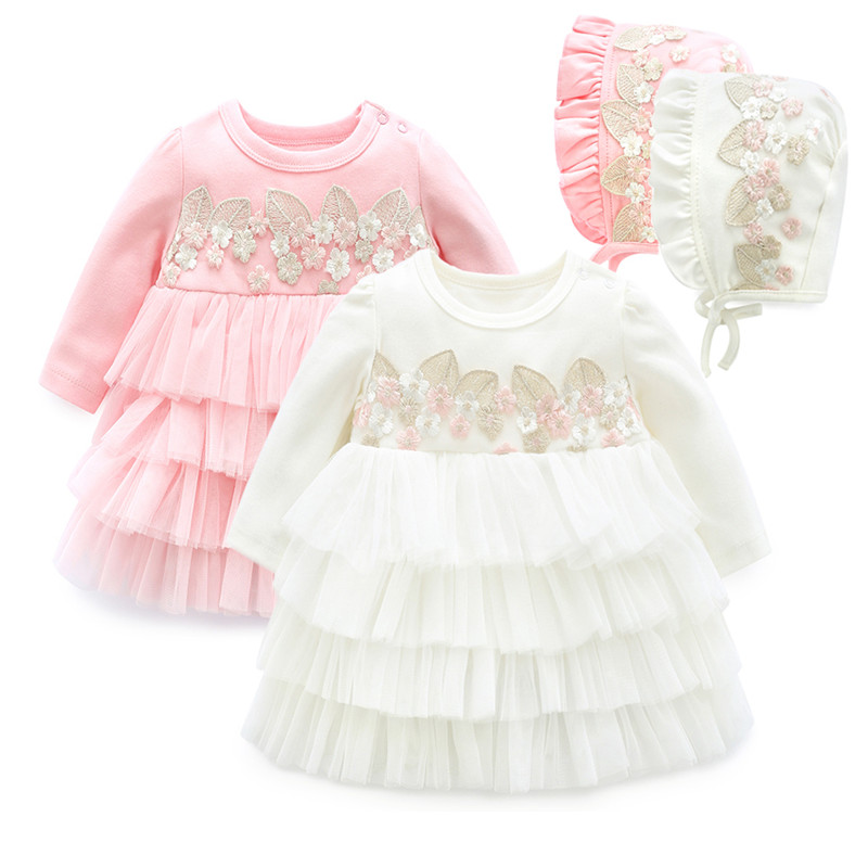 Embroidery Newborn Baby Dress Girl Clothing Set Long Sleeve Party Cupcake Baptism Dress & Hats 2018 Infant Girls Dresses