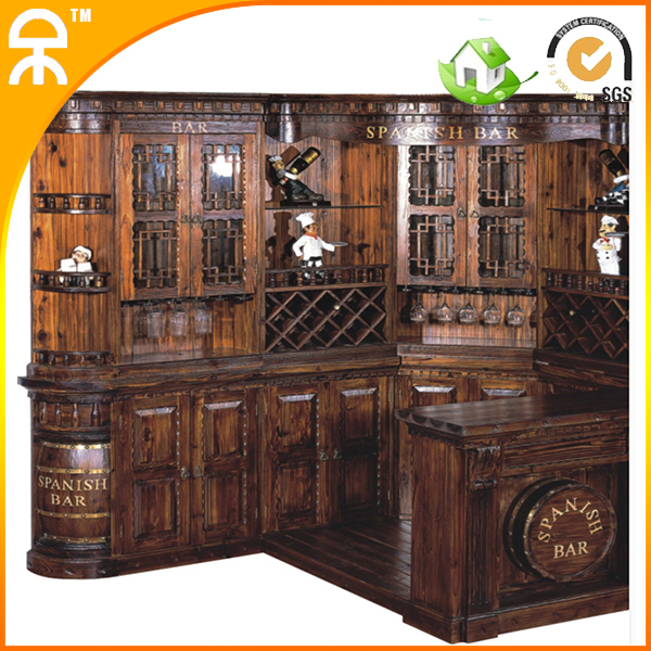 1 Bar Table Wine Cabinet Clical Carving Wooden Furniture Set Ce
