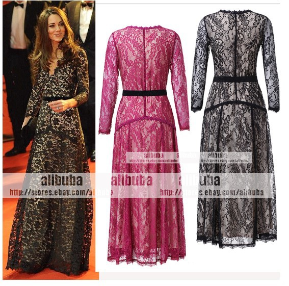 Women\'s LACE Long Sleeve MAXI KATE Flared Low Cut Dress evening gown ...
