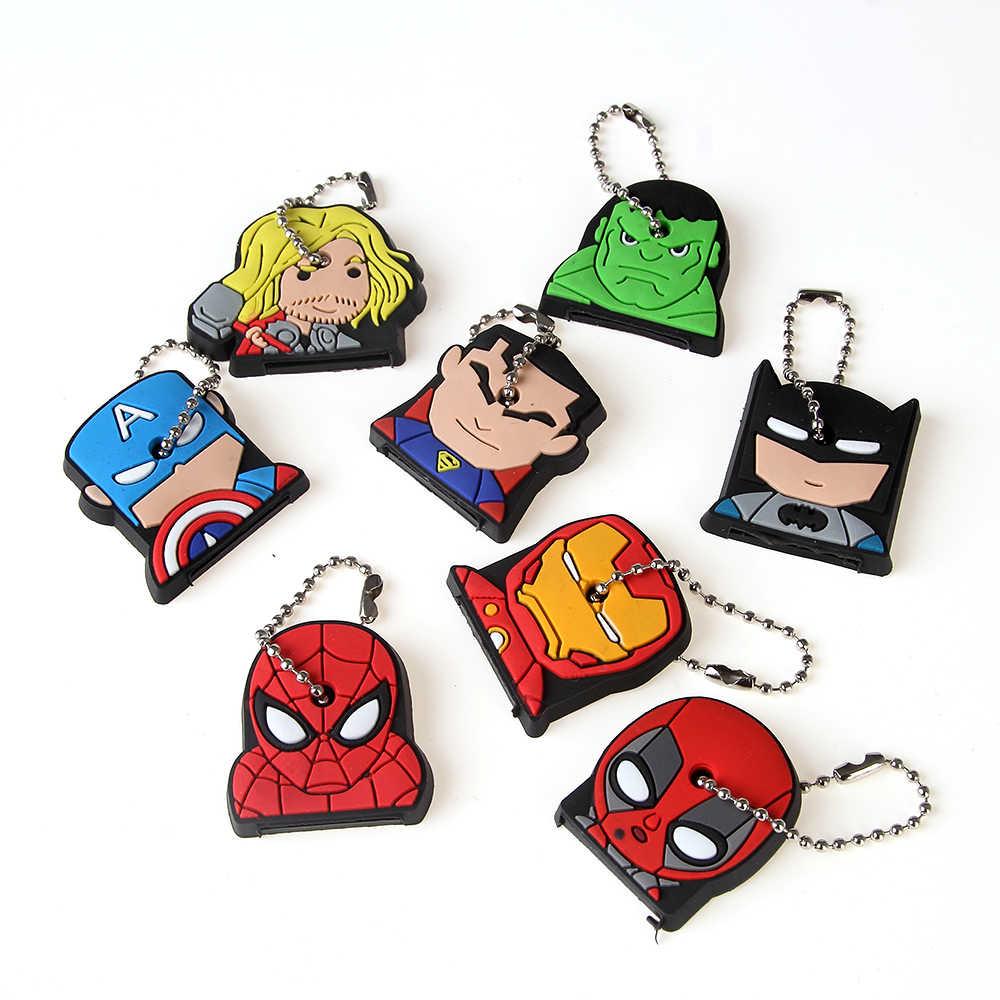 Super herói bonito anime chaveiro capa de silicone homem aranha batman hulk chaveiro anel feminino porte clef homem de ferro chaveiro novo exótico