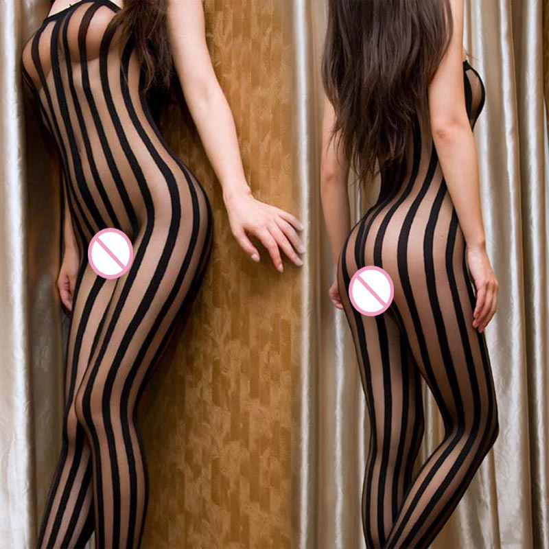 Erotic Wild Fantasy Vertical Stripe Sheer And Opaque Spaghetti Strap Body Stockings Bodystocking Bodysuit Fetish Lingerie
