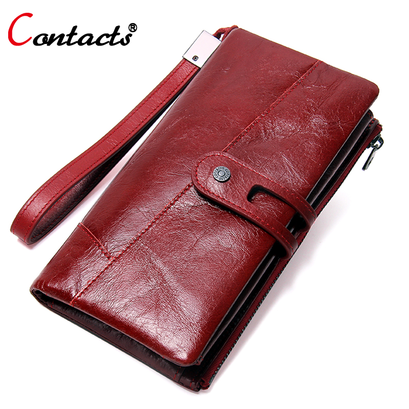 CONTACT'S Women purse genuine leather womens wallets and purses card holder coin purse clutch wallet with coin pocket money bag brand genuine leather wallet female purse long coin purse money bag casual card holder women wallets fashion purse wallet women