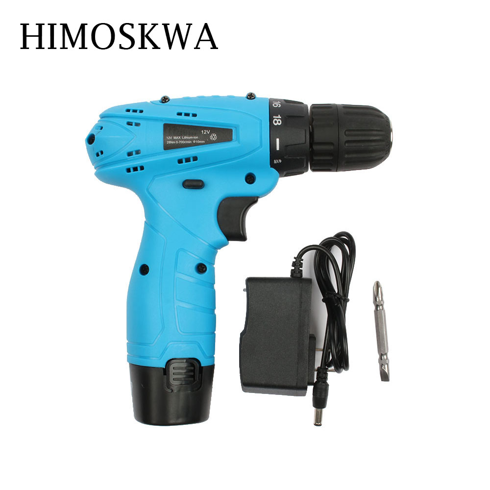 HIMOSKWA 12V Electric Screwdriver Lithium Battery Rechargeable Multi-function Cordless Electric Drill