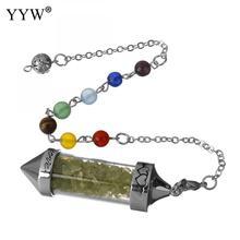 YYW New Arrival 7 Chakra Wishing Bottle Pendulum Reiki Natural Chip Stone Pendant Necklace For Women Men Divination Amulet