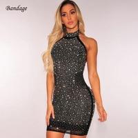 Wholesale 2018 Black Halter Sexy Backless Dress Shining Diamond Sleeveless Bandage Bodycon Mesh Dresses Nightclub Mini Outfits