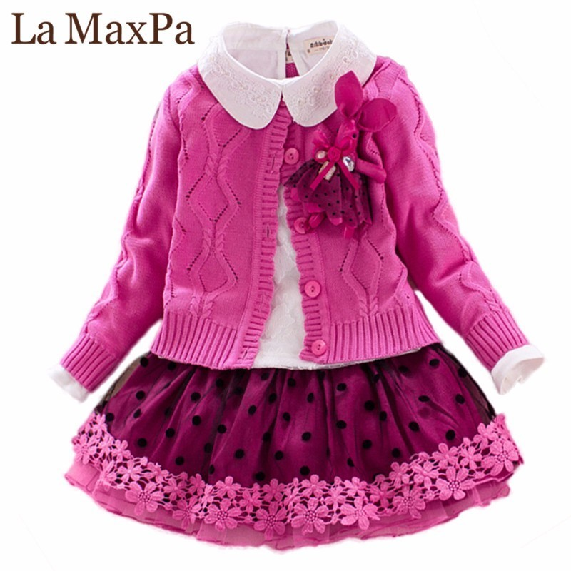 Children`s Winter Clothes Set Girls Sweater Coat+cotton Blouses+lace Skirt 3pcs Suit Girls Princess Shcool Clothing for 4y-8y white top my 2nd st patrick day clover green bling sequins girls skirt set 1 8y