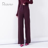 Riokeke Classic Straight Wide Leg Women's Pants Female High Waist Look Thin Tall Trousers Solid Elegant Casual Women Pants 2018