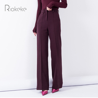 Riokeke Classic Straight Wide Leg Women's Pants Female High Waist Look Thin Tall Trousers Solid Elegant Casual Women Pants 2018