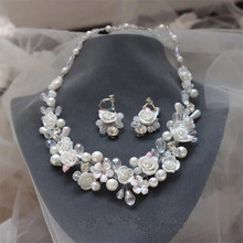 2016 New Trend Bridal White Ceramic Rose flower Necklace Earrings pearls rhinestone Wedding Jewelry Sets dress accessories Gift
