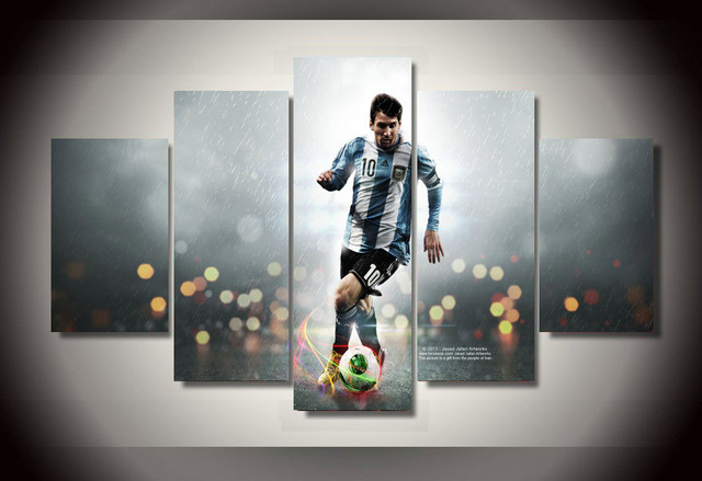 5 Pi 232 Ce No Frame Peinture Leo Messi Groupe Peinture Mur