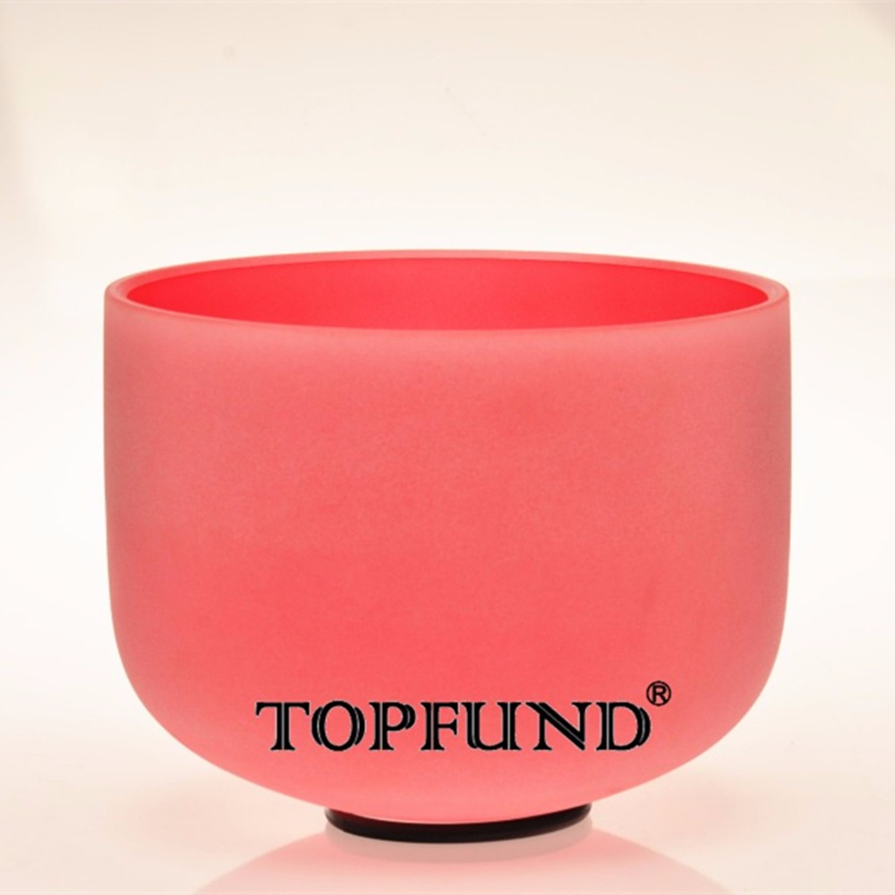TOPFUND Red Colored Frosted Quartz Crystal Singing Bowl 432HZ Tuned C# Adrenals Chakra 10 With Free Mallet and O-Ring topfund yellow frosted quartz crystal singing bowl 432hz tuned e solar plexus chakra 10 with free mallet and o ring
