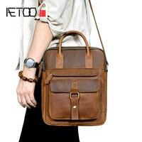 AETOO British retro first layer leather men's shoulder Messenger bag crazy horse leather casual handbag