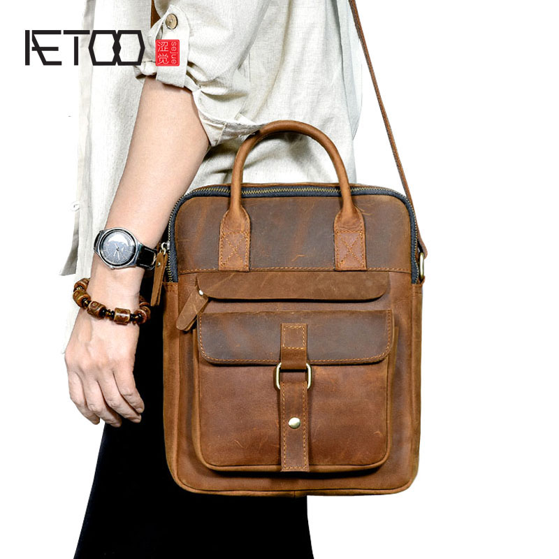 AETOO British retro first layer leather men's shoulder Messenger bag crazy horse leather casual handbag