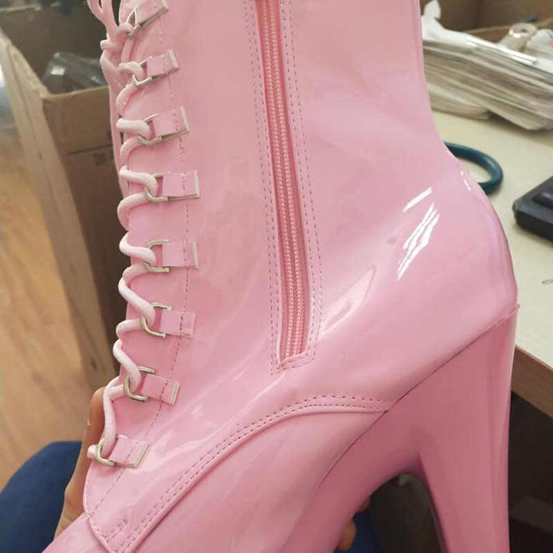 High Heel Boots Women Autumn Winter Fashion Motorcycle Boots 2019 Black Pink Matte Round Toe Women Shoes Sexy Lace-Up Bottes