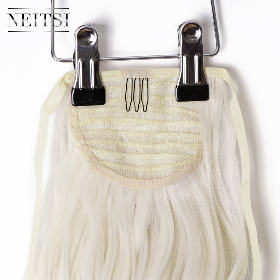 Купить с кэшбэком Neitsi Curly Long Clip In Hair Tail False Hair Ponytail Hairpiece With Hairpins Synthetic Hair  60#